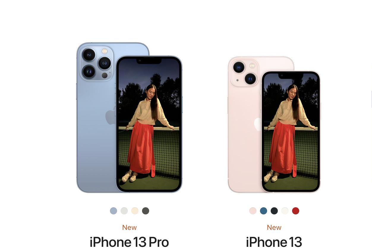L'iPhone 13 Pro à gauche et l'iPhone 13 à droite